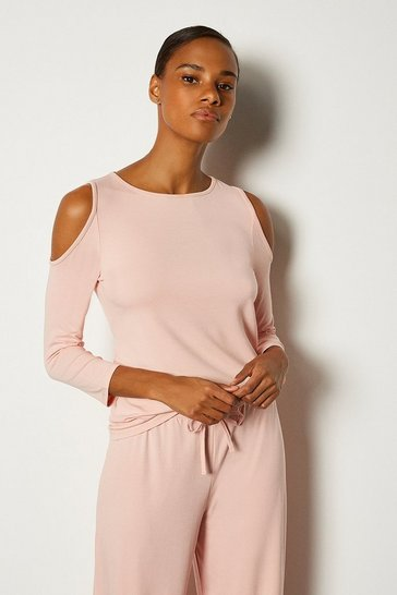 Blush Viscose Jeresy Lounge  Cold Shoulder Top