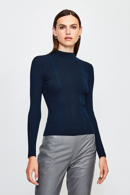 Navy Rib Knitted High Neck Top