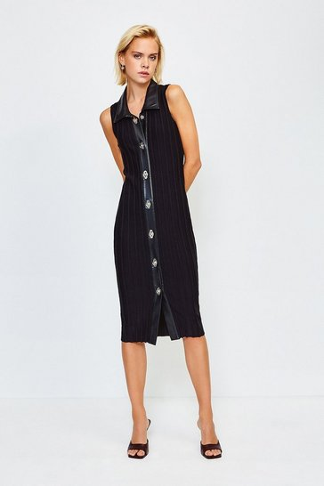 Black Sleeveless Twist Lock Fastening Dress