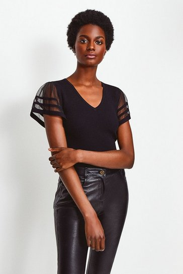 Black Sheer Sleeve Knitted Top