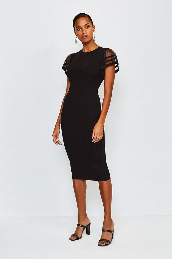 Black Sheer Sleeved Knitted Dress