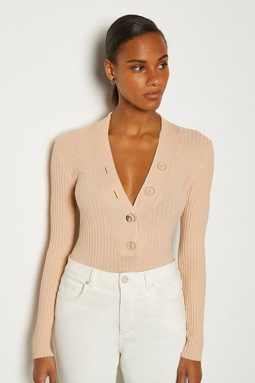 Sand Plunge Button Knitted Jumper