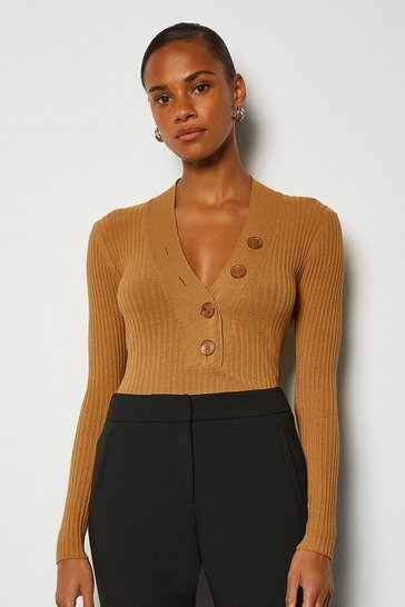 Tan Plunge Button Knitted Jumper