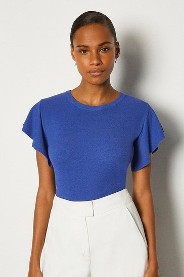 Cobalt Ruffle Sleeve Knitted Top