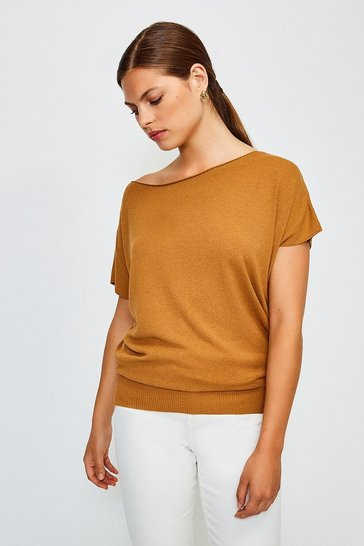 Tan Slash Neck Knitted Top