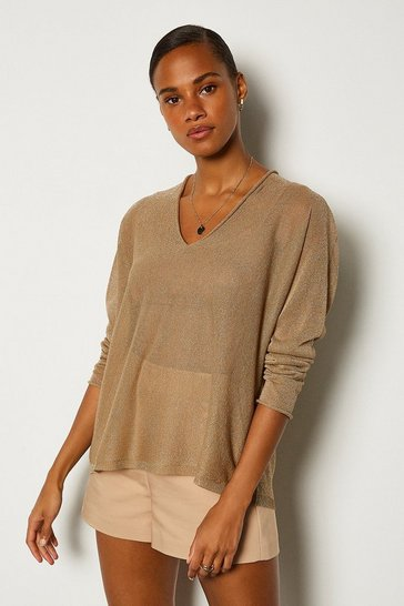 Beige V Neck Knitted JUmper