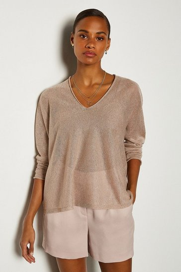 Blush V Neck Knitted JUmper