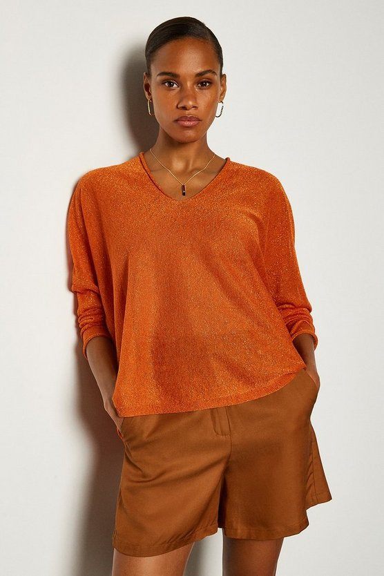 Orange V Neck Knitted Jumper