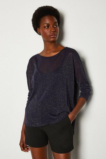Midnight Scoop Neck Knitted Jumper
