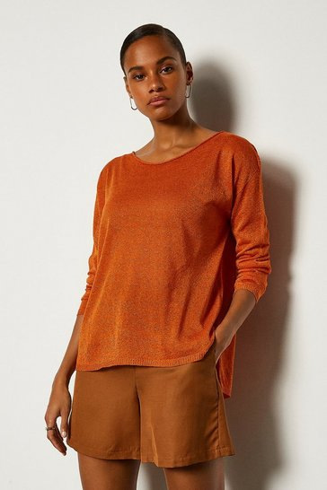 Orange Scoop Neck Knitted Jumper