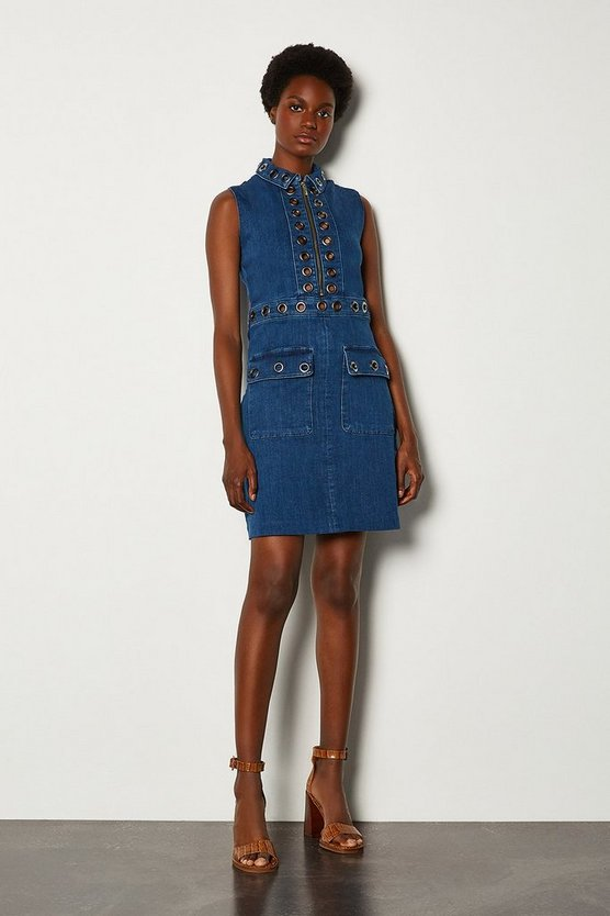 Indigo Denim Eyelet Dress