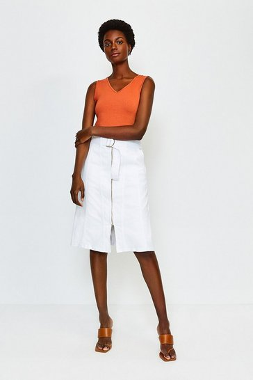 White Denim Zip Front Skirt