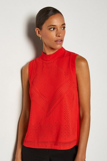 Red Crepe Sleeveless Blouse