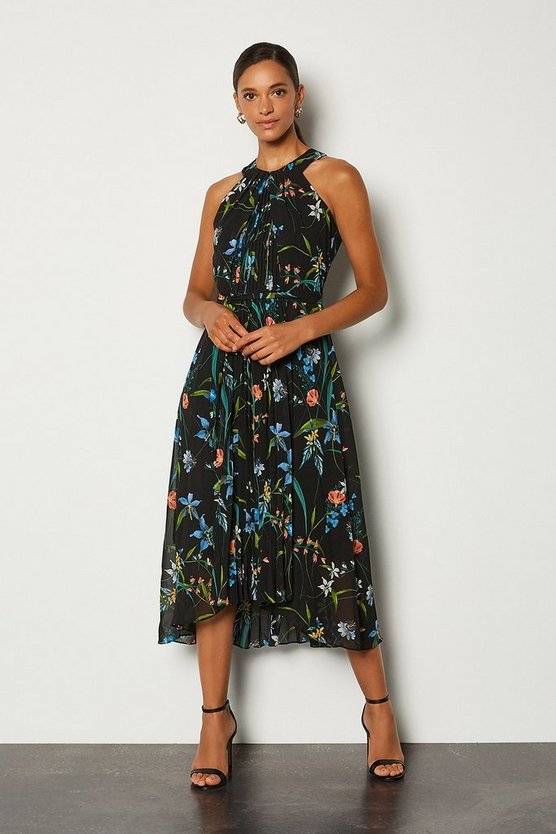 Navy Floral Print Sleeveless Midi Dress