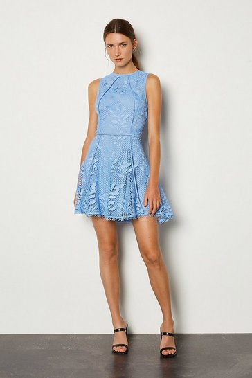 Blue High Neck Fitted Short Dress