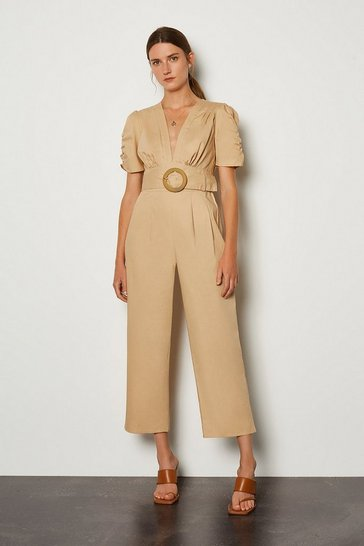 Natural Belted V-Neck Jumpsuit