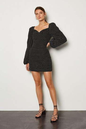 Black Spot Print Wrap Front Volume Sleeve Dress
