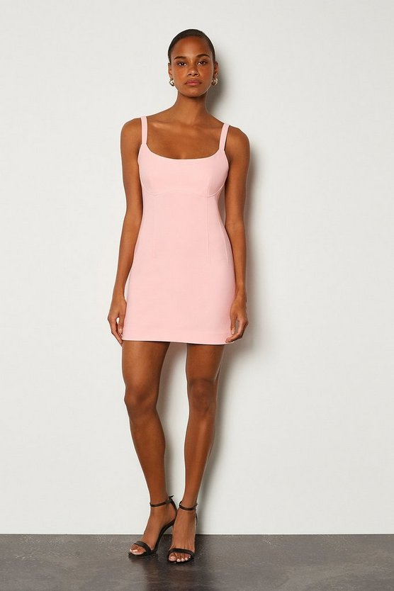 Pink Scoop Neck Mini Dress