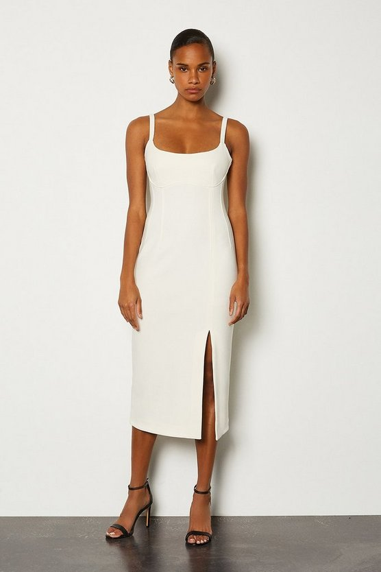 Ivory Bodycon Scoop Neck Midi Dress