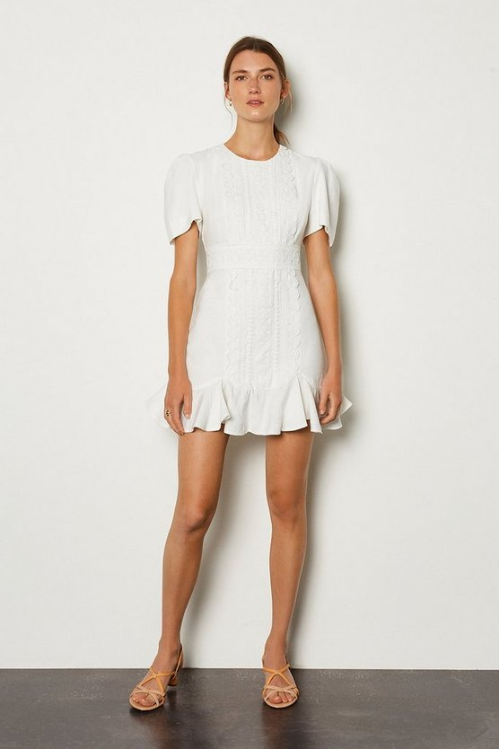 Ivory Puff Sleeve Ruffle Hem Mini Dress