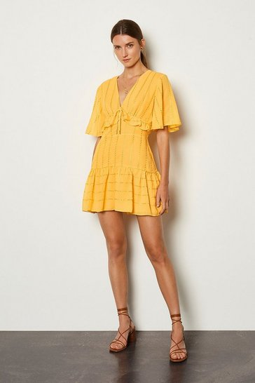 Mango Ruffle Tie Front Dress