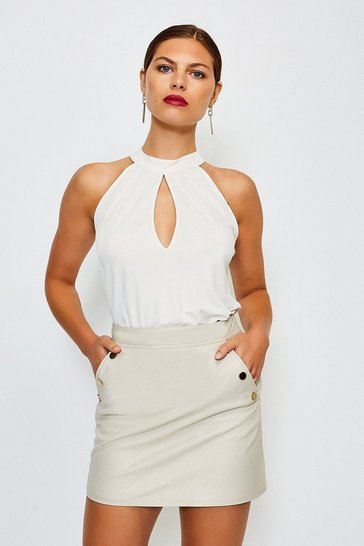 Ivory Keyhole Draped Jersey Top