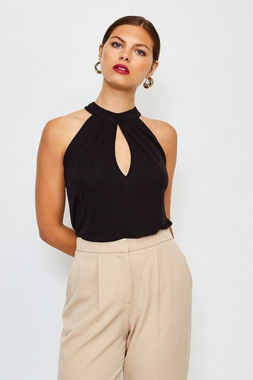 Black Keyhole Draped Jersey Top