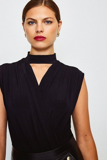 Black Pleat Shoulder Wrap Front Body