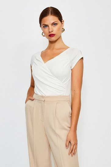 Ivory Gathered Wrap Front Top