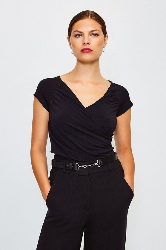 Black Gathered Wrap Front Top