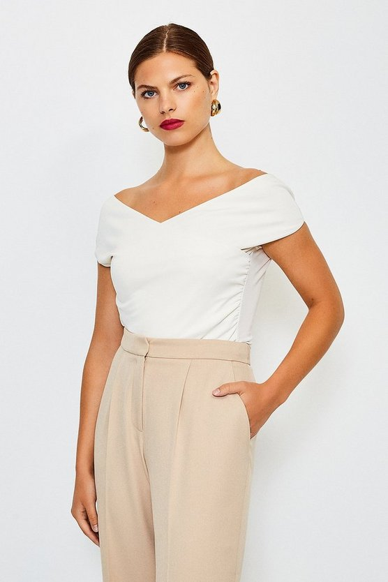 Ivory Slinky Draped Bardot Top