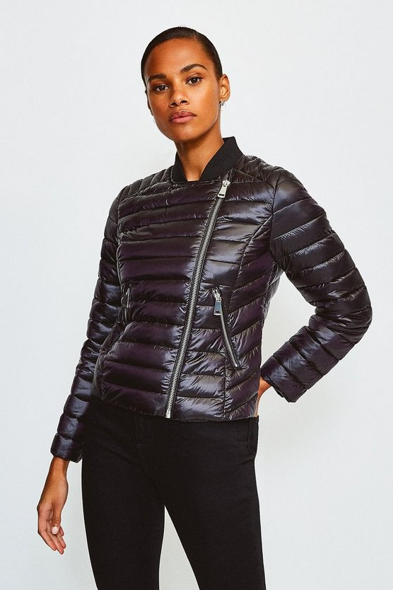 Black Padded Quilted Zip Detail Jacket