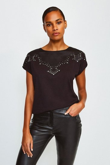 Black Stud Trim Jersey T-Shirt