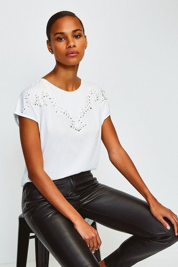 White Stud Trim Jersey T-Shirt