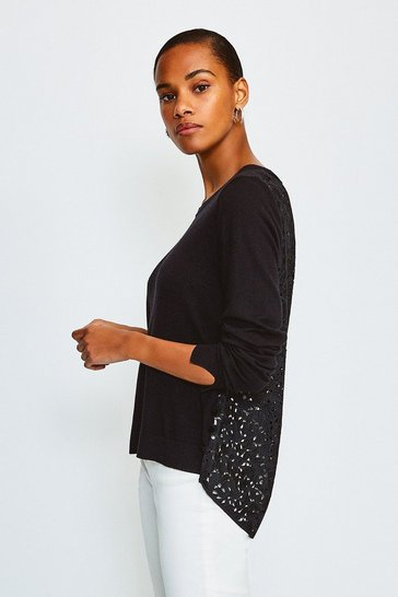 Black Lace Back Jumper