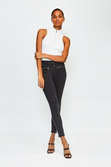 Black Biker Stretch Skinny Jean