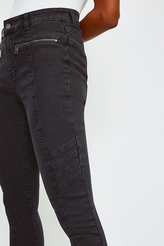 Karen Millen PN002 Blue Zip Biker Skinny Slim Denim Stretch Trouser Jeans 8-10