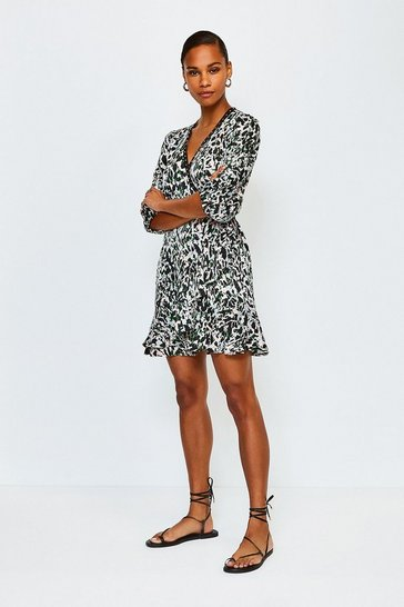 Black Animal Print Wrap Short Dress