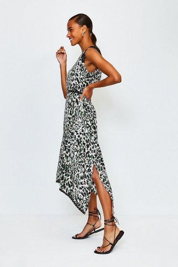 Black Animal Print Sleeveless Midi Dress