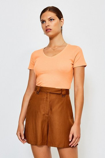 Apricot Jersey V Neck Cotton T-Shirt