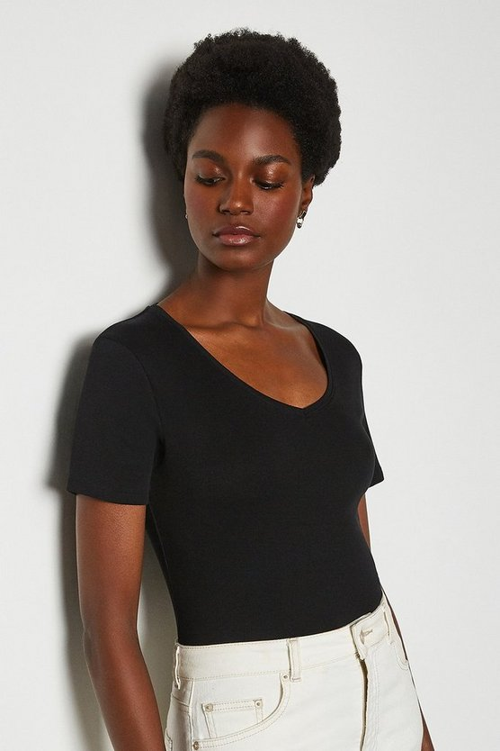 Black V Neck Cotton T-Shirt
