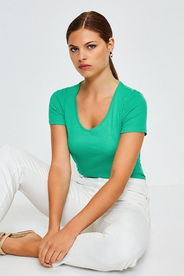 Green V- Neck Cotton T-Shirt