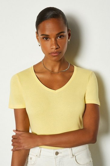 Lemon V Neck Cotton T-Shirt