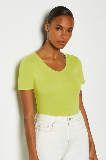 Lime V- Neck Cotton T-Shirt