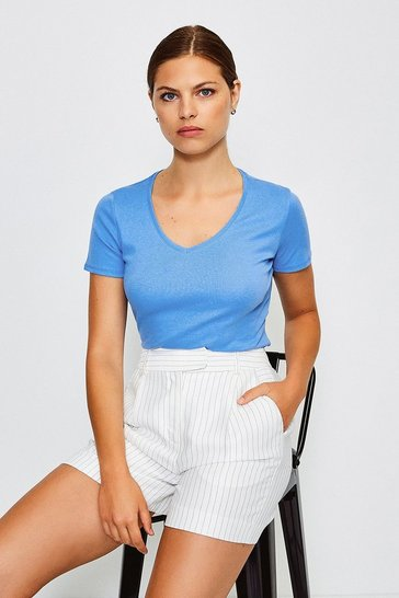 Pale blue V- Neck Cotton T-Shirt