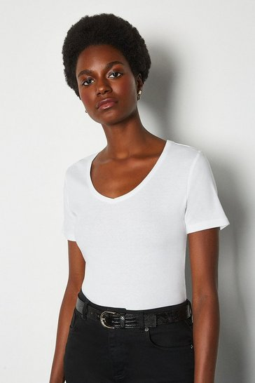 White V- Neck Cotton T-Shirt