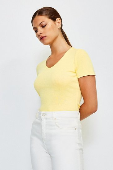 Yellow V- Neck Cotton T-Shirt
