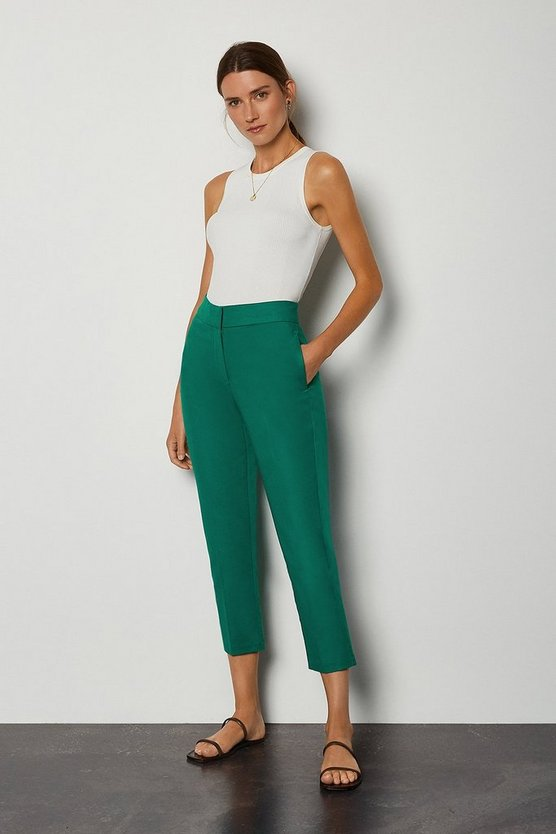 Green Cotton Sateen 7/8 Trouser