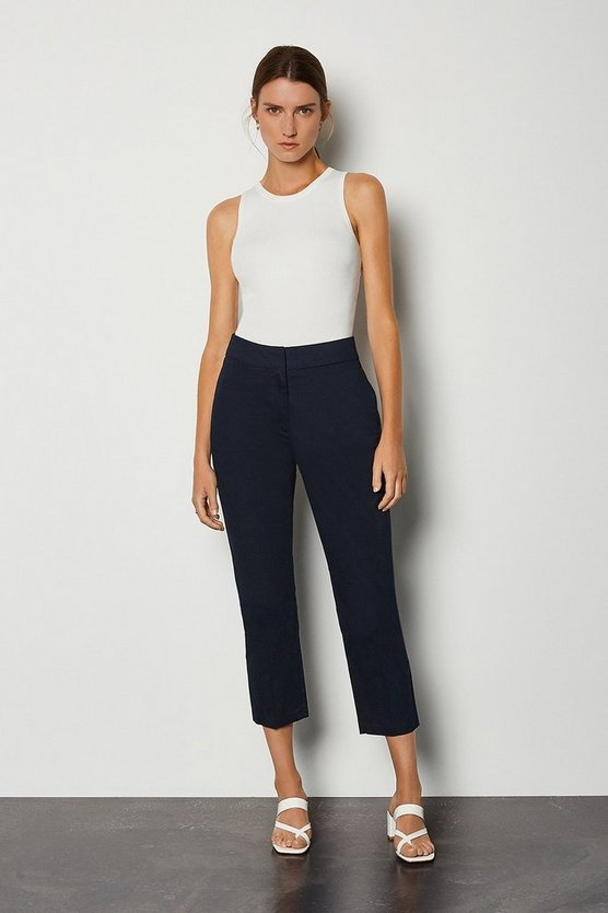 Navy Cotton Sateen 7/8 Trouser