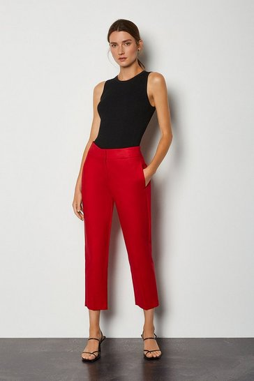 Red Cotton Sateen 7/8 Trouser